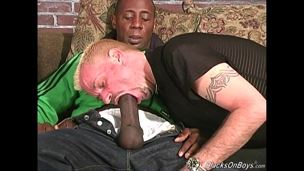 pierced blonde dude pumps a massive black mem gay black