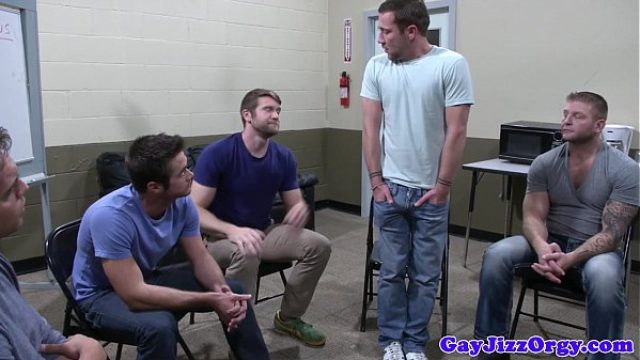 groupsex hunks blowing on lucky guy gay orgy