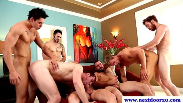 jocks at group gangbang poking ass and eating gay orgy