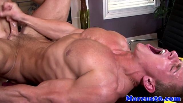 ripped hunk jerks his dong while assfucked muscle gay