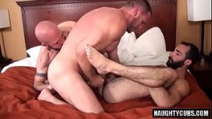 Bear Gay hairy bear threesome fucking with final backdoor