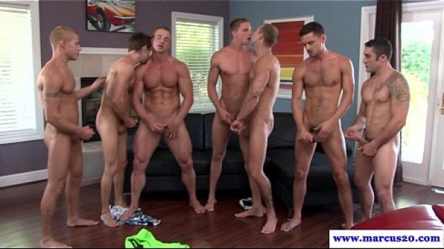 Gay Orgy straight dude enjoying gangbang