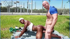 Public Gay mulatto richards his